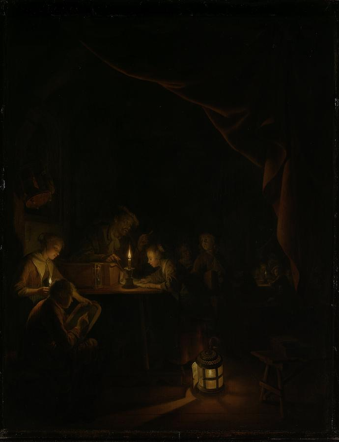 Night School Painting - The Night School by Gerard Dou