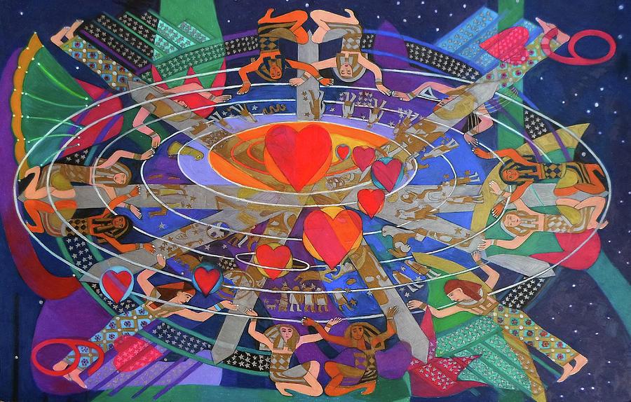 Nine Painting - The Nine Lives Of The Heart by Denise Weaver Ross