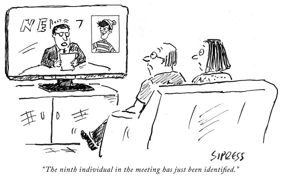 The ninth individual in the meeting Drawing by David Sipress