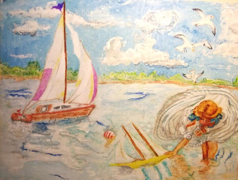 Sail Boat Painting - The None Such Sailboat by Michelle Reid