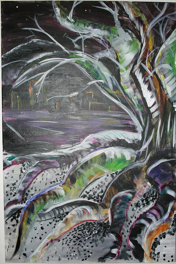 Tree Painting - The Northern Tree Lights by Casey Jones