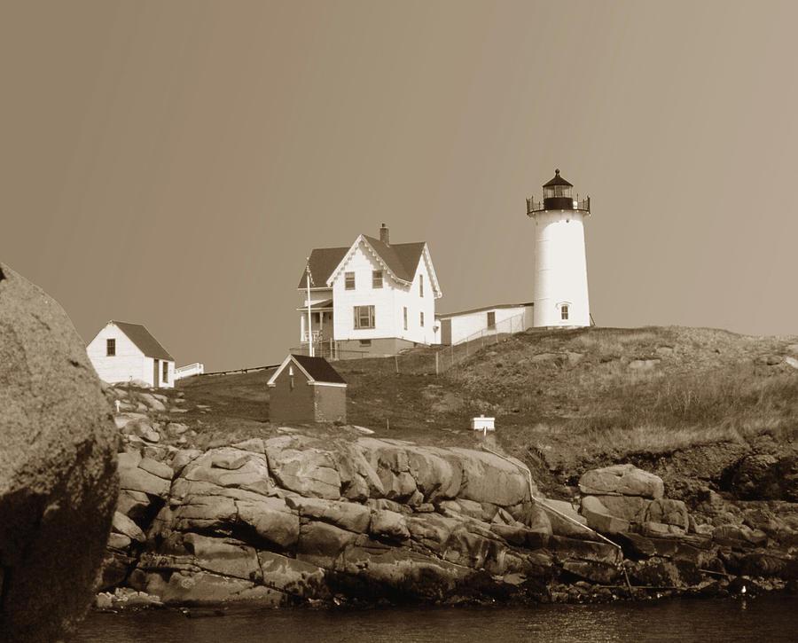 Maine Photograph - The Nubble by Shel Perkins