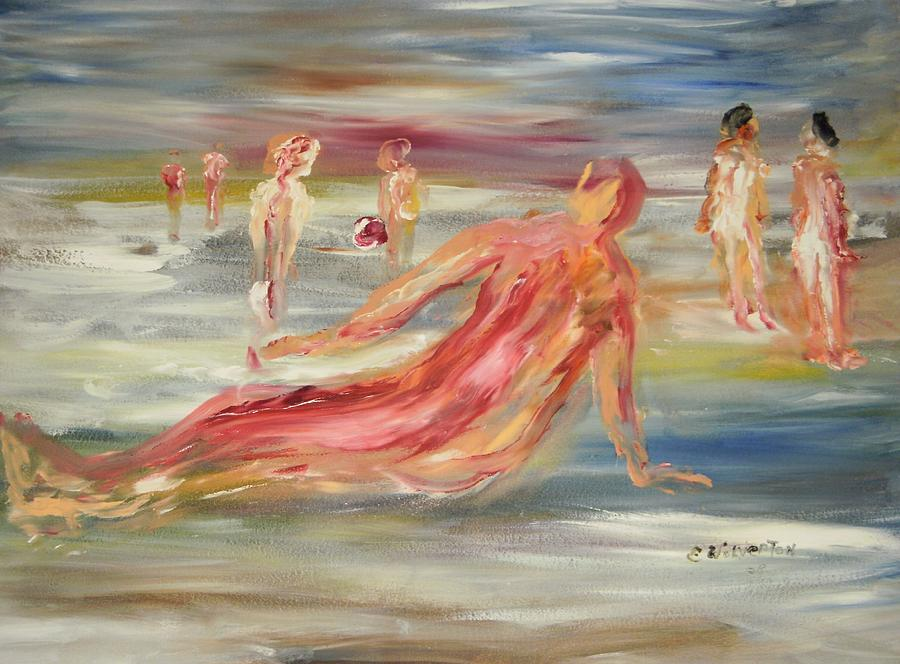 Nude Painting - The Nude Beach by Edward Wolverton