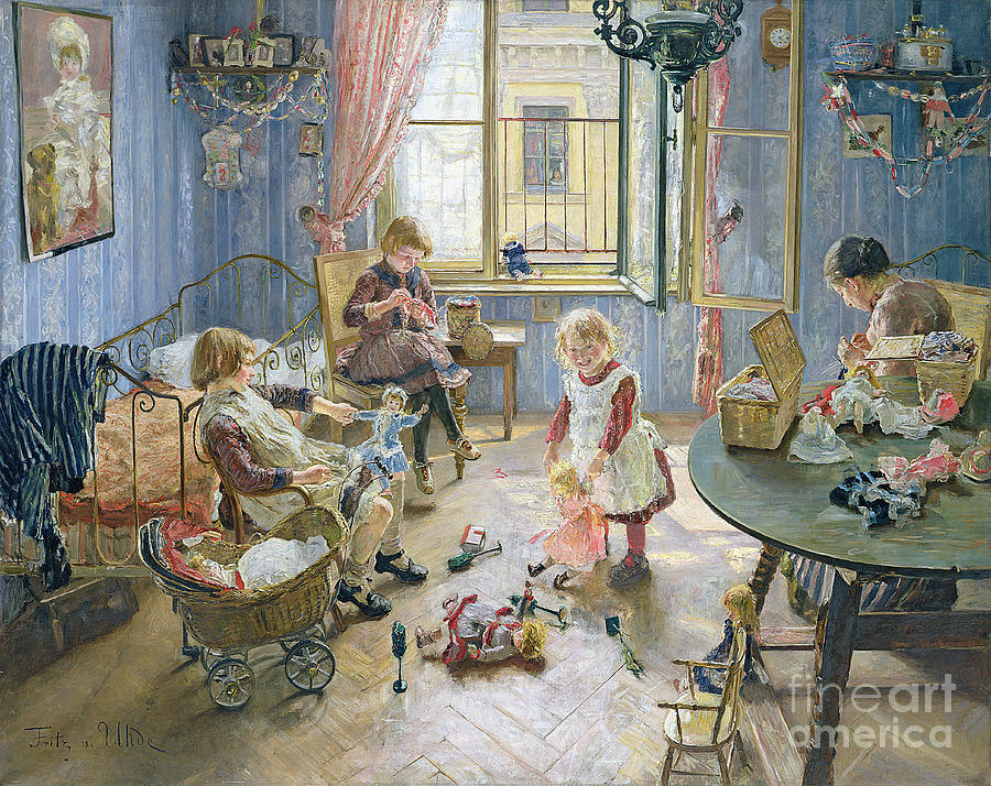 The Painting - The Nursery by Fritz von Uhde
