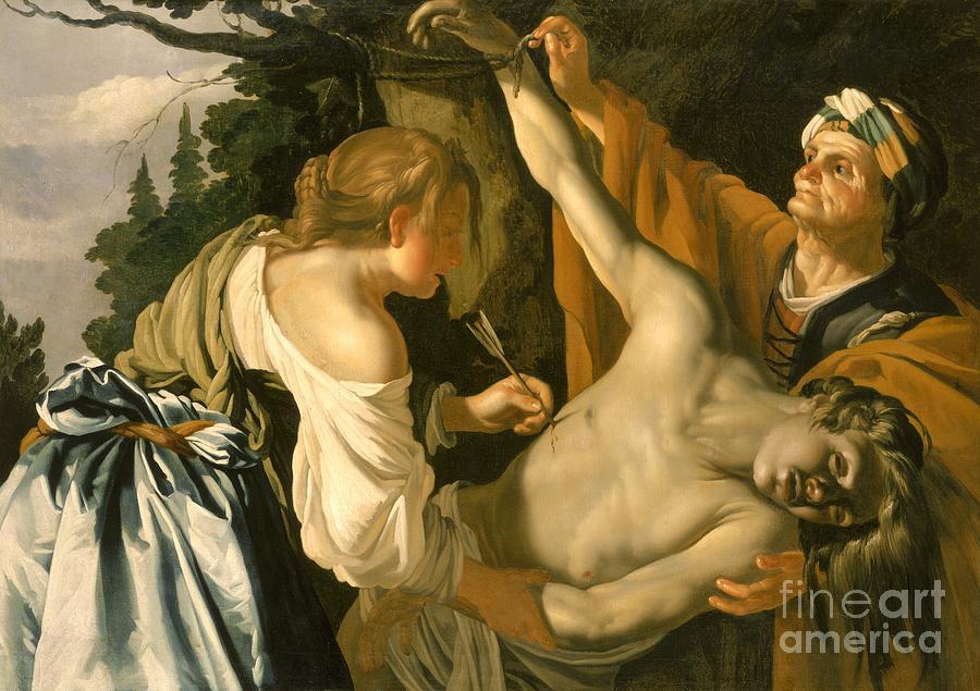 The Painting - The Nursing Of Saint Sebastian by Theodore van Baburen