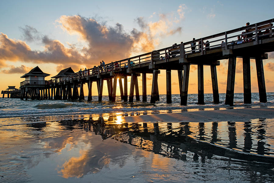 Naples Pier At Sunset Naples Florida Ripples Photograph by ...