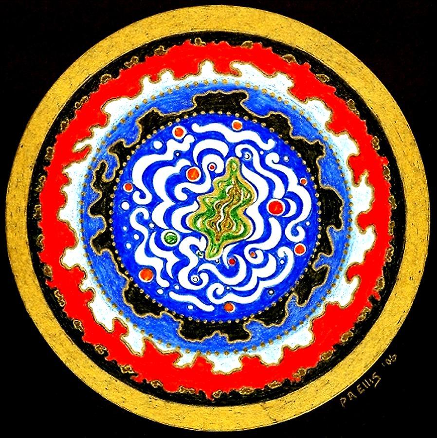 Mandala Painting - The  Observer by Pam Ellis