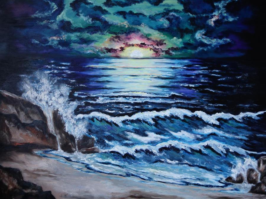 Ocean Painting - The Ocean Sings The Sky Listens by Cheryl Pettigrew