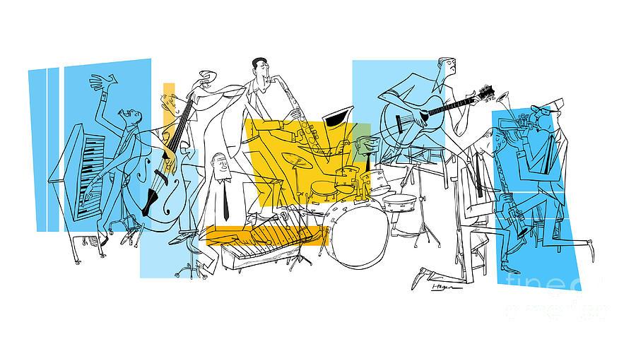 Jazz Digital Art - The Octet by Sean Hagan