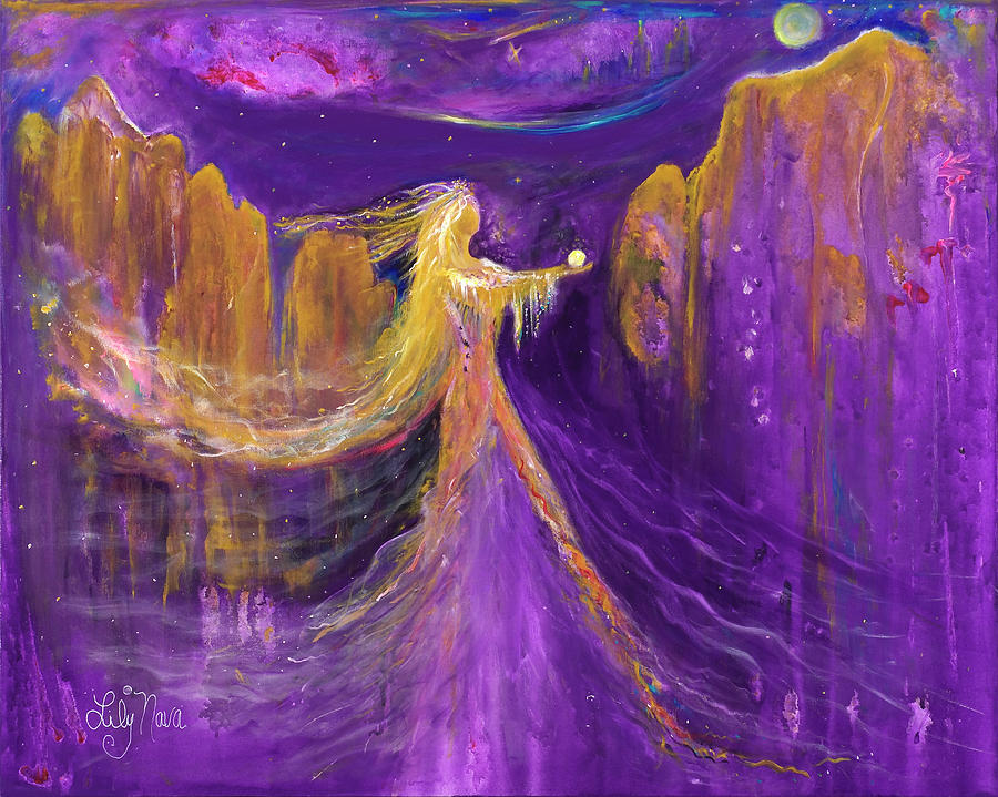 Mystical Painting - The Offering by Lily Nava