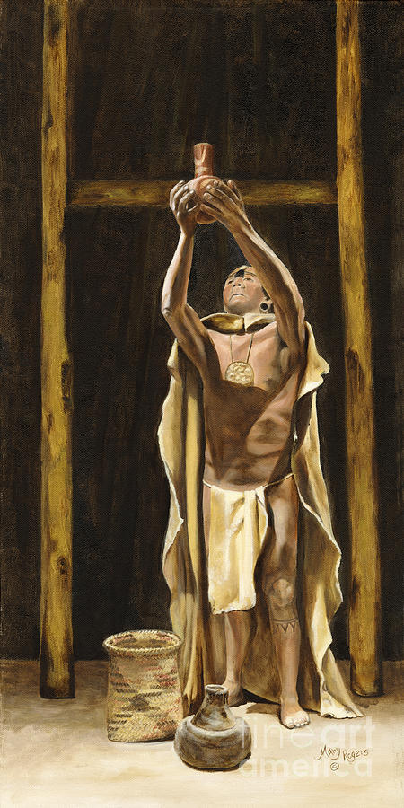 Sepia Painting - The Offering by Mary Rogers