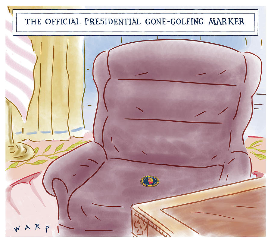 The official Presidential gone golfing marker Drawing by Kim Warp