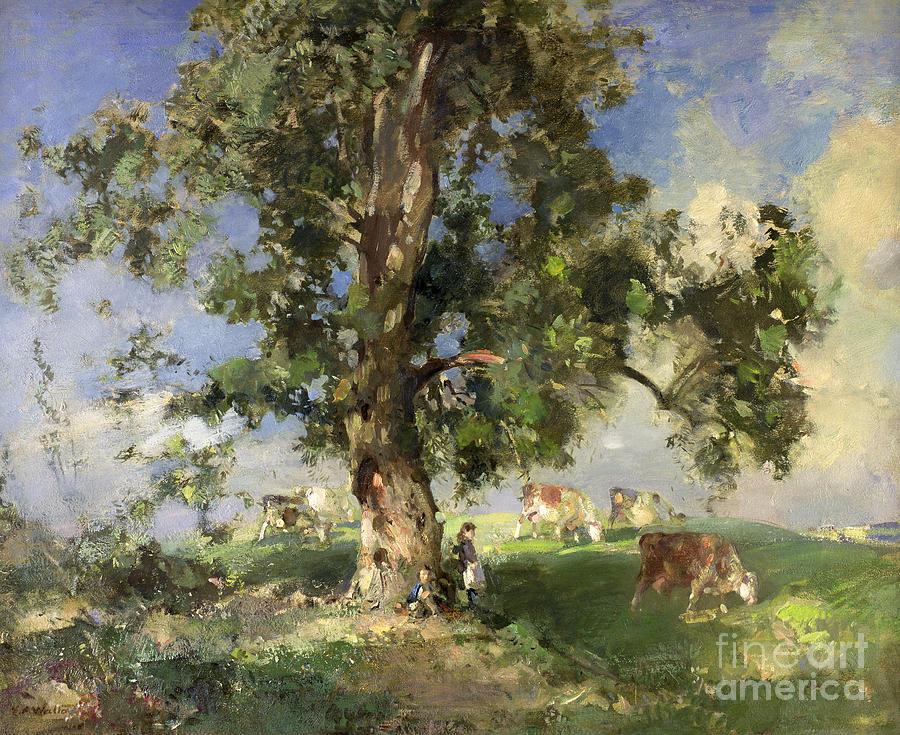 Edward Painting - The Old Ash Tree by Edward Arthur Walton