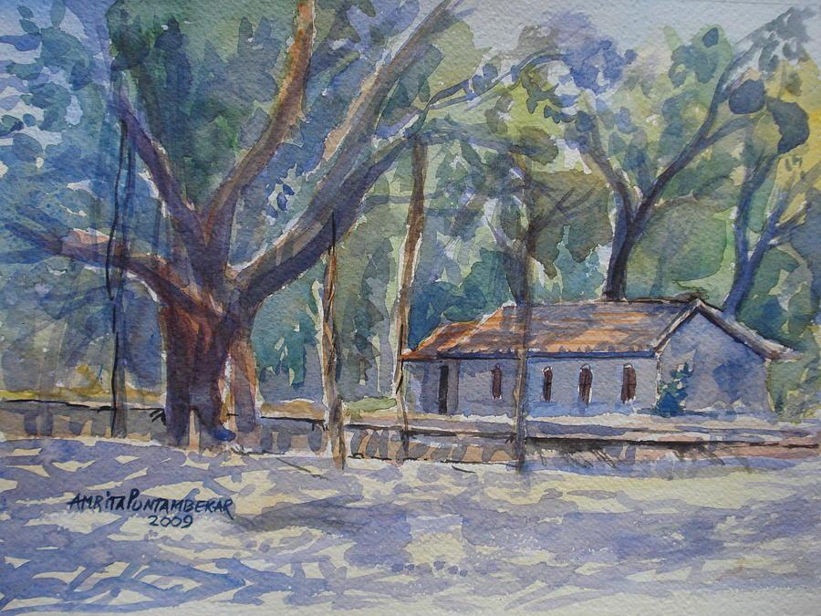 Trees Painting - The Old Banyan Belgaum by Amrita Puntambekar