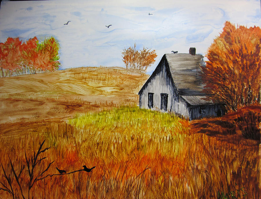 Landscape Painting - The Old Barn by Maris Sherwood