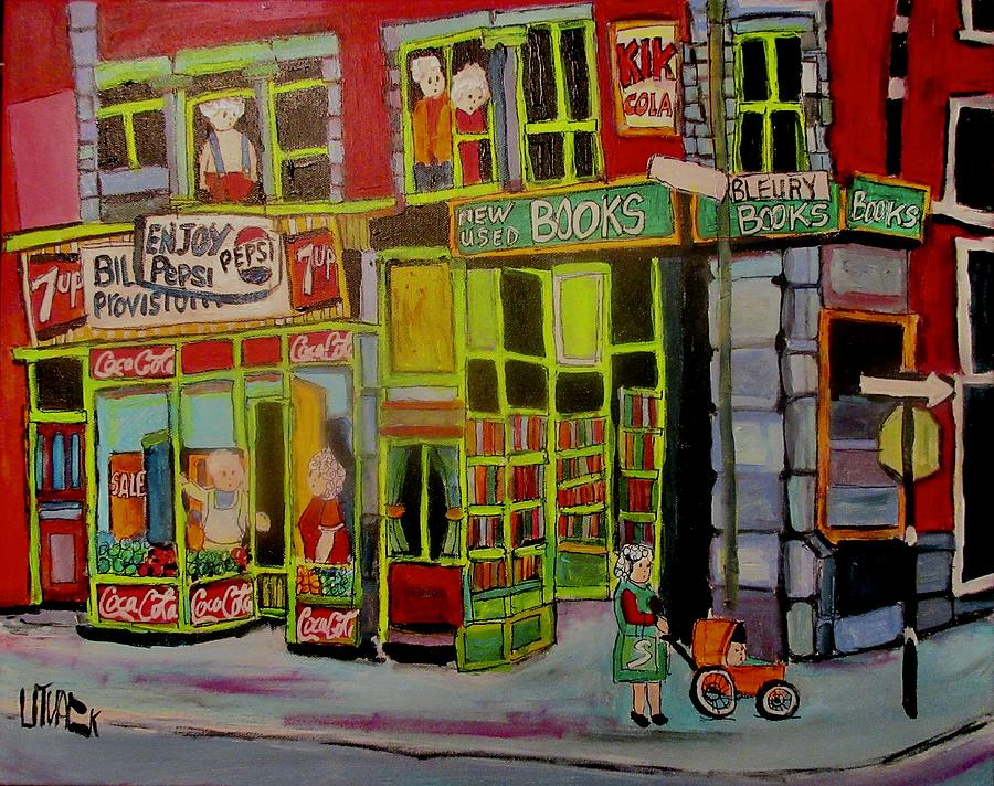 The Old Book Store Bleury Montreal Painting by Michael Litvack
