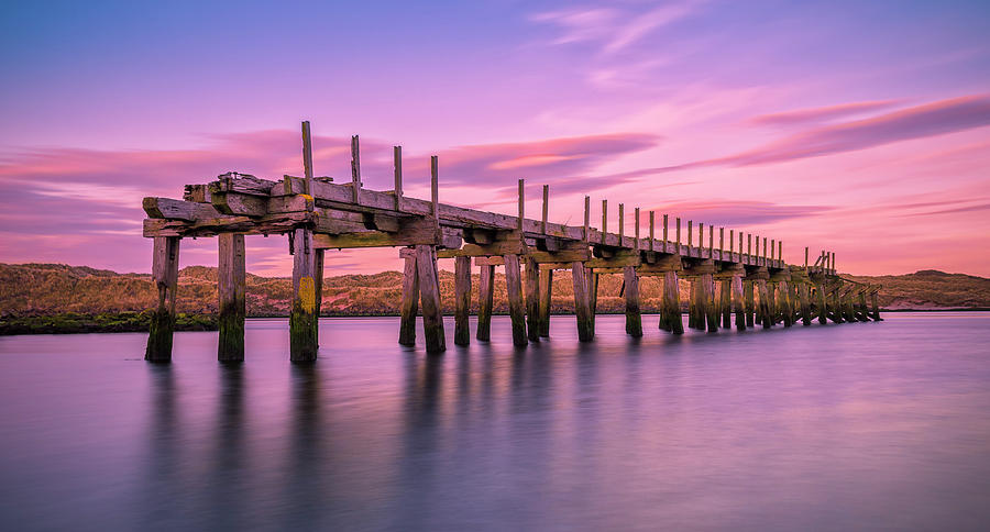 Old Bridge Photograph - The Old Bridge At Sunset by Roy McPeak