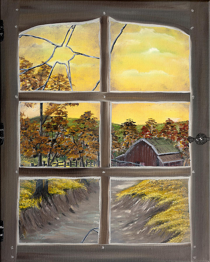 Road Painting - The Old Broken Window  by Claude Beaulac