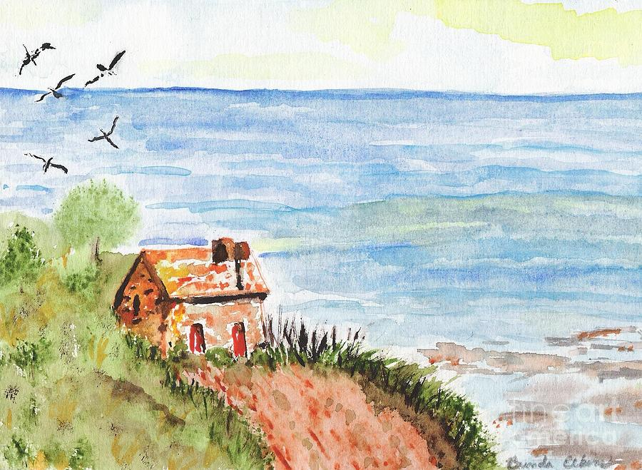 The old cabin by the sea painting by brenda elkins for Cabin by the sea