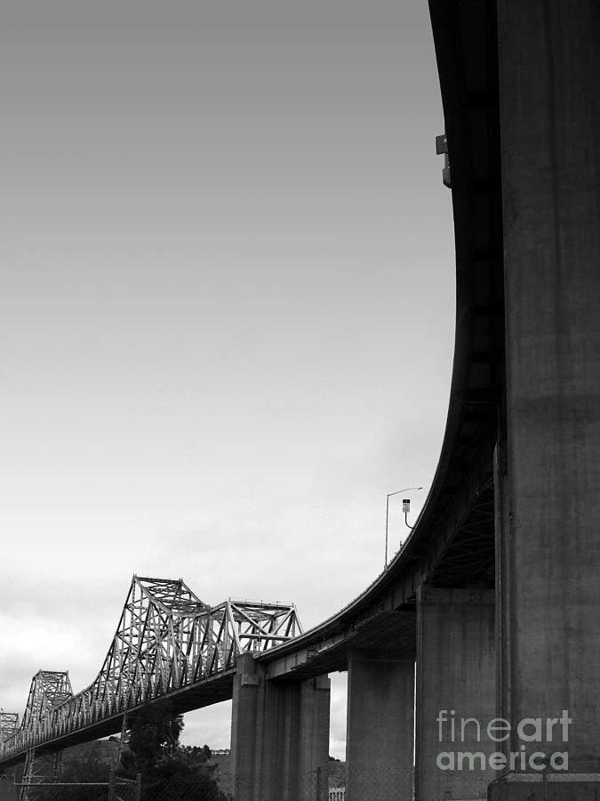 Transportation Photograph - The Old Carquinez Bridge . Black And White . 7d8832 by Wingsdomain Art and Photography