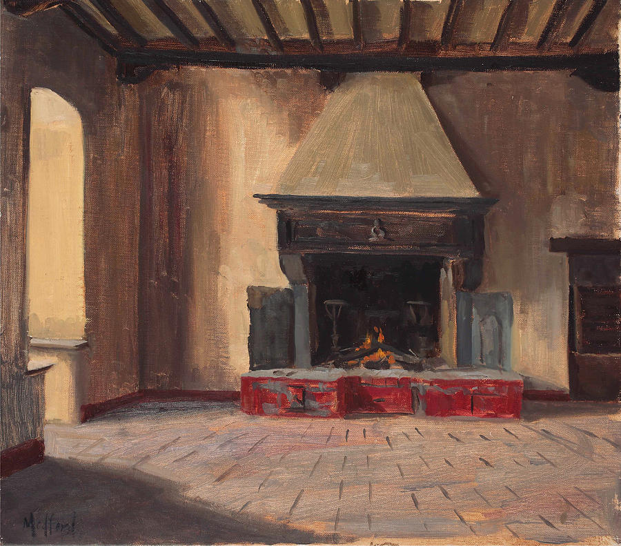 The Old Castle Fireplace Painting by Kelly Medford