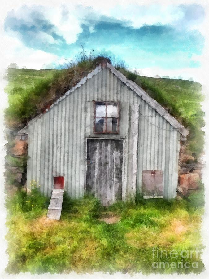 Iceland Painting - The Old Chicken Coop Iceland Turf Barn by Edward Fielding