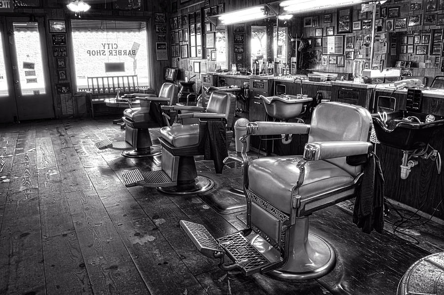 The Old City Barber Shop In Black And White Photograph By