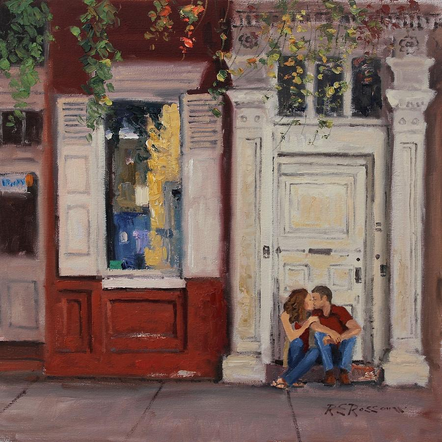 Couples In Love Painting - The Old Doorway by Roelof Rossouw
