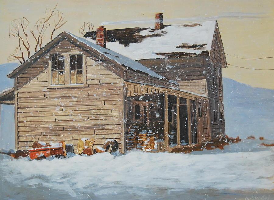 Snow Painting - the Old Farm House by Len Stomski