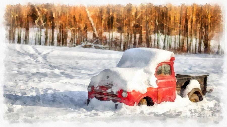 Christmas Digital Art - The Old Farm Truck In The Snow by Edward Fielding