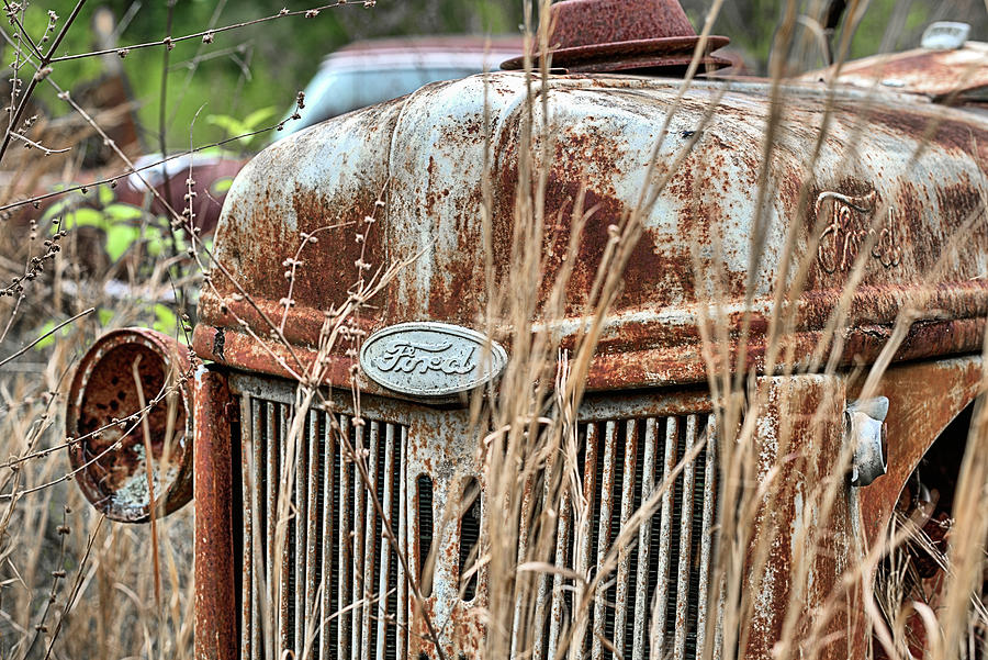 Ford Emblem Photograph - The Old Ford Tractor by JC Findley
