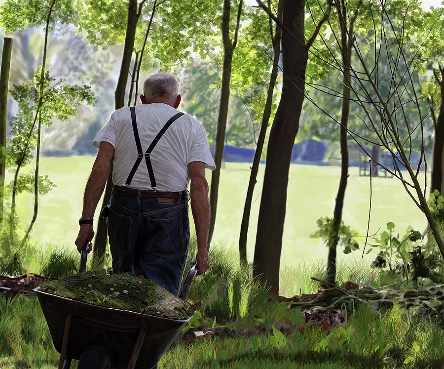 Garden Digital Art - The Old Gardener by Nigel Follett