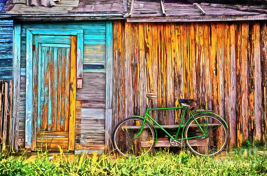 Bike Painting - The Old Green Bicycle by Edward Fielding