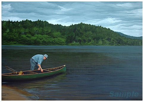 Landscape Painting - The Old Green Canoe by Jan Lyons