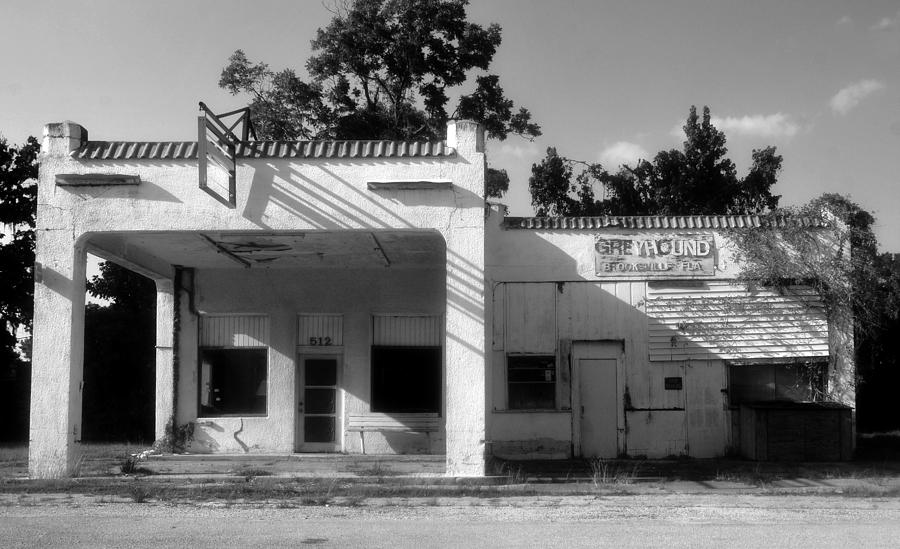 Black And White Photograph - The Old Greyhound Station by David Lee Thompson