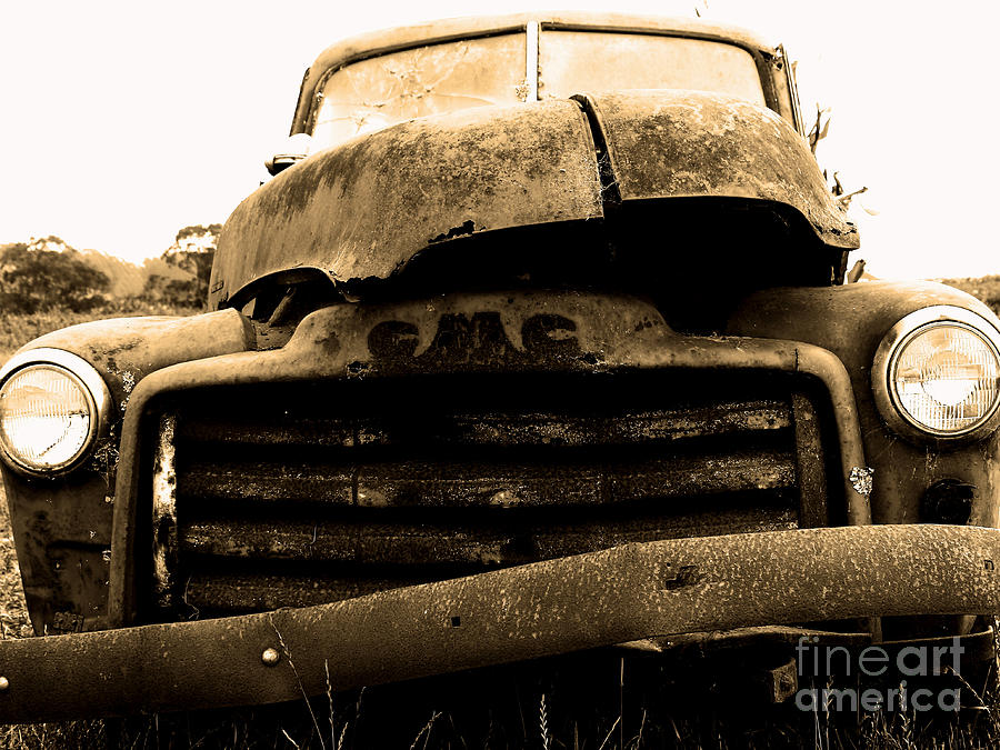 Black And White Photograph - The Old Jalopy . 7d8396 by Wingsdomain Art and Photography