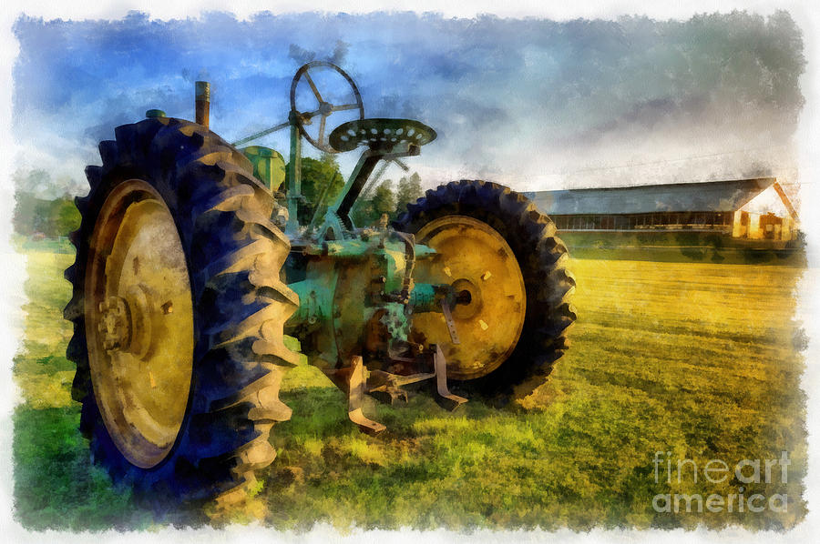 The Old John Deere Tractor Painting By Edward Fielding
