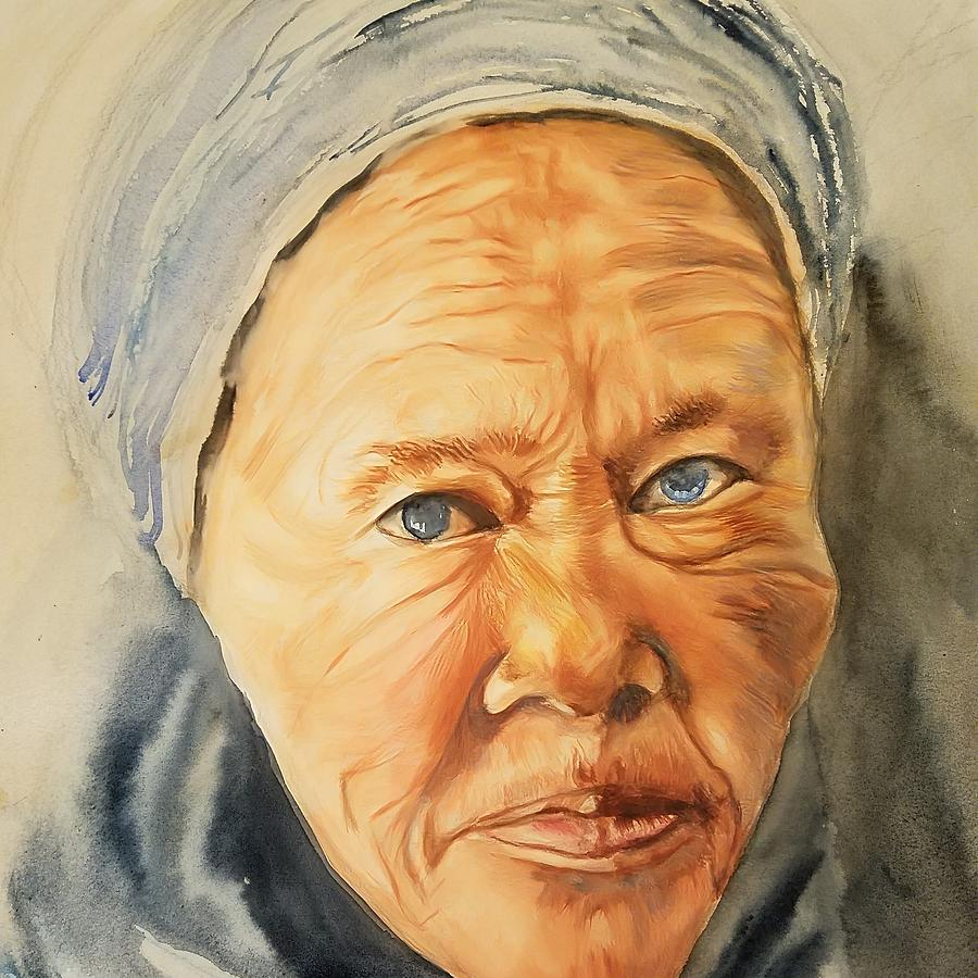 The Old Lady Series Painting By Han In Huang Wong
