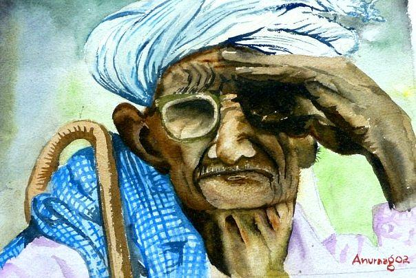 The Old Man Painting by Anuraag Fulay