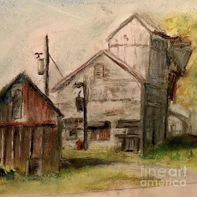 The Old Mill Pastel by Debra Akers