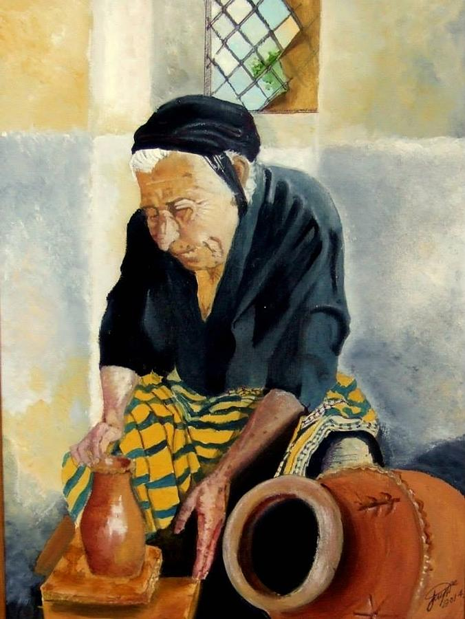 Old People Painting - The Old Potter by Jane  Simpson