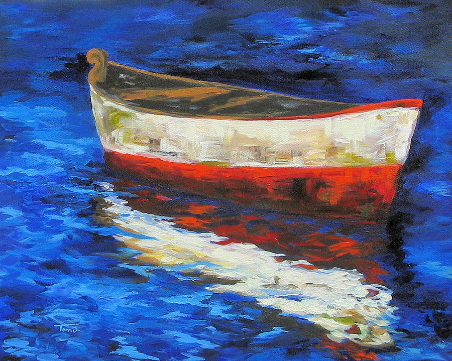 Boat Painting - The Old Red Boat II  by Torrie Smiley