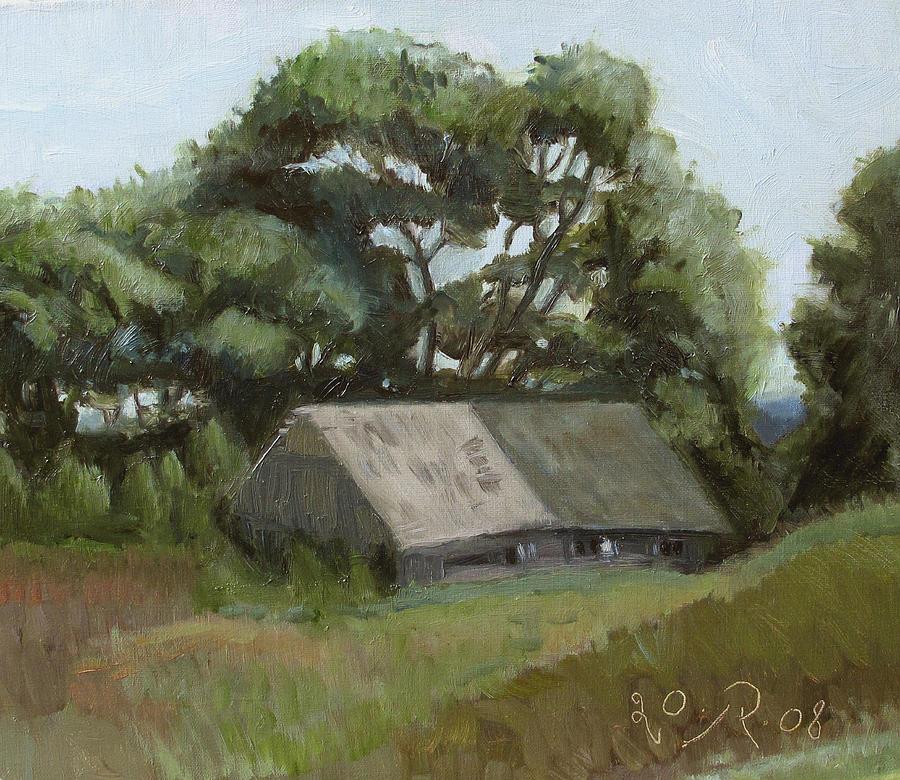 The Old Shed Painting by Raimonda Jatkeviciute-Kasparaviciene