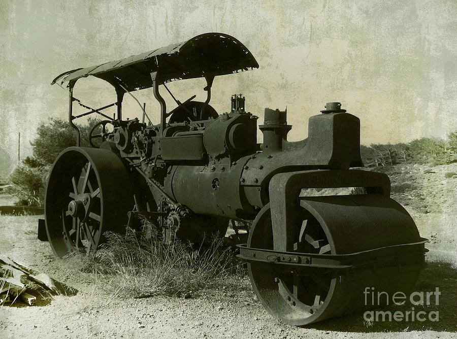 Old Photograph - The Old Steam Roller by Christo Christov