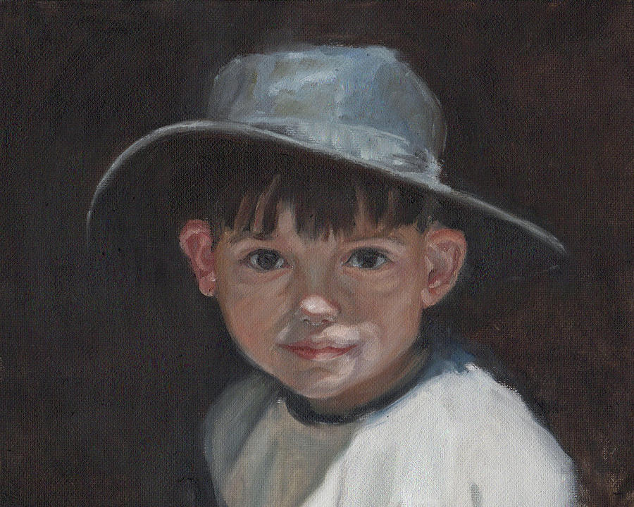 Children Painting - The Old Time Hat by Tahirih Goffic