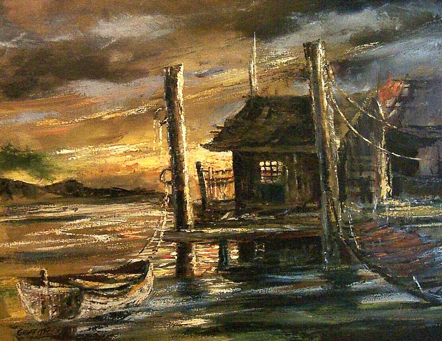 Seascape Painting - The Old Wharf by Don Griffiths