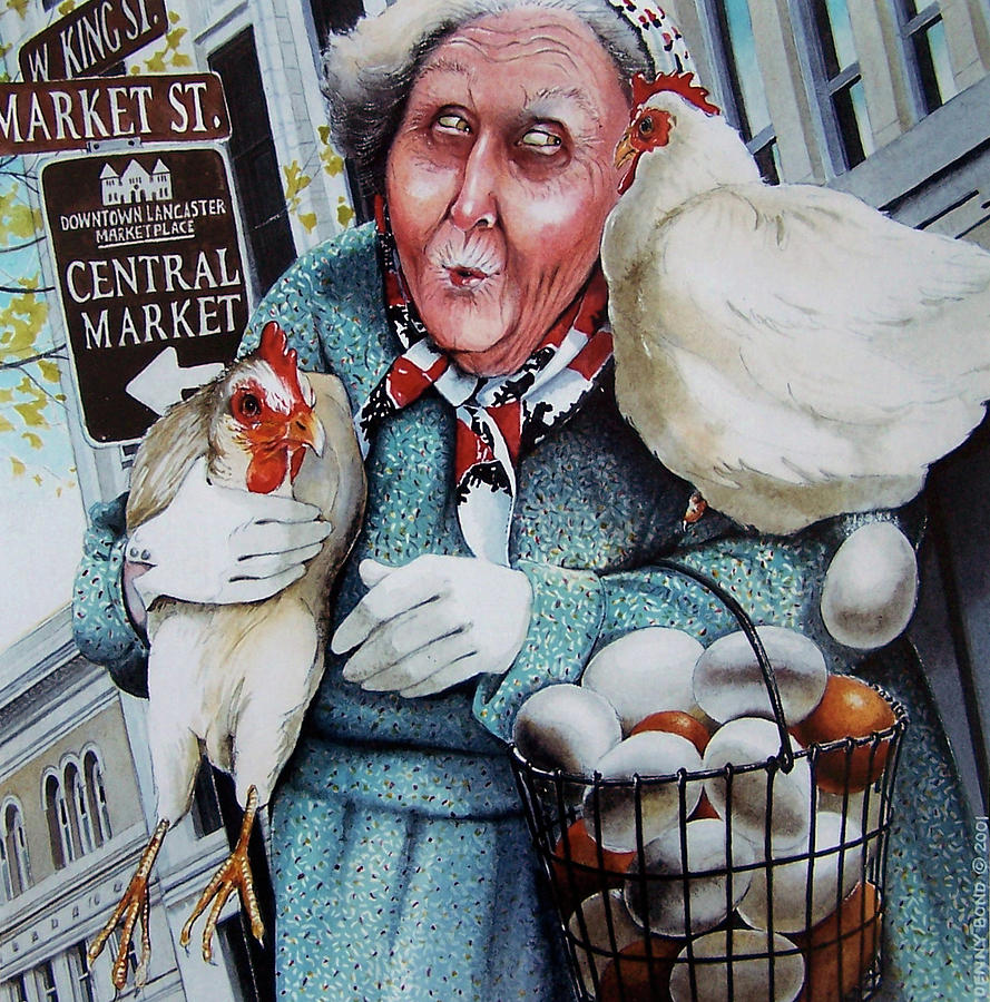 Chicken Painting - The Old Woman And The Peddlar by Denny Bond