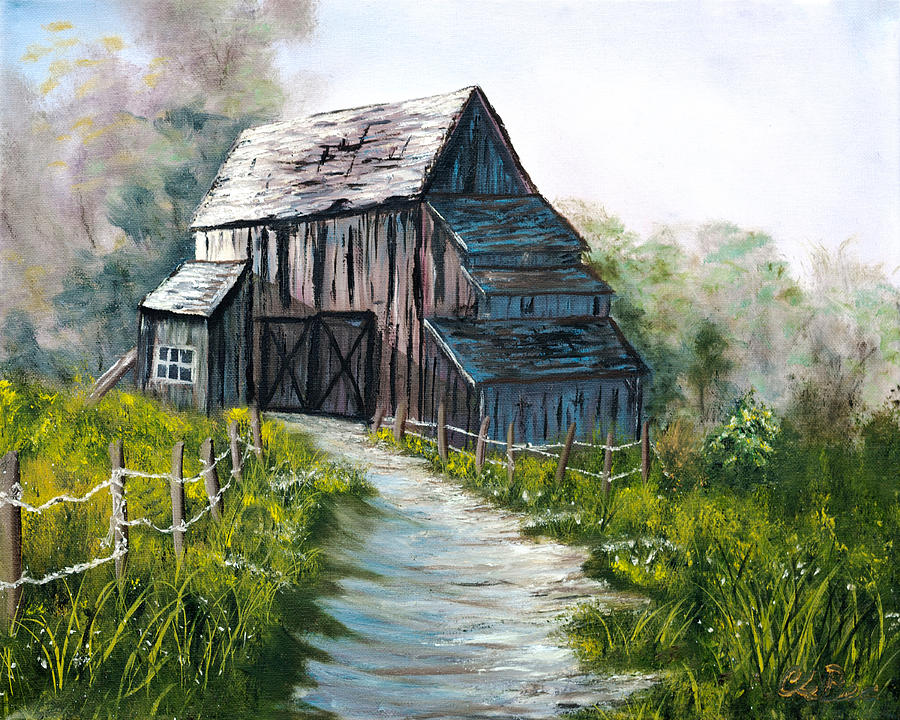 Old Barn Painting - The Old Wooden Barn  by Claude Beaulac