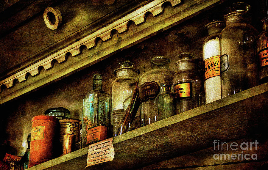 Glass Bottles Photograph - The Olde Apothecary Shop by Lois Bryan