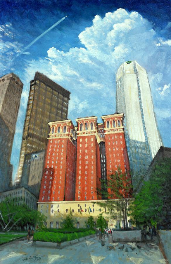 Cityscape Painting - The Omni William Penn Hotel by Erik Schutzman